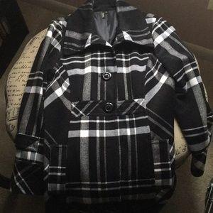 Plaid knee length coat